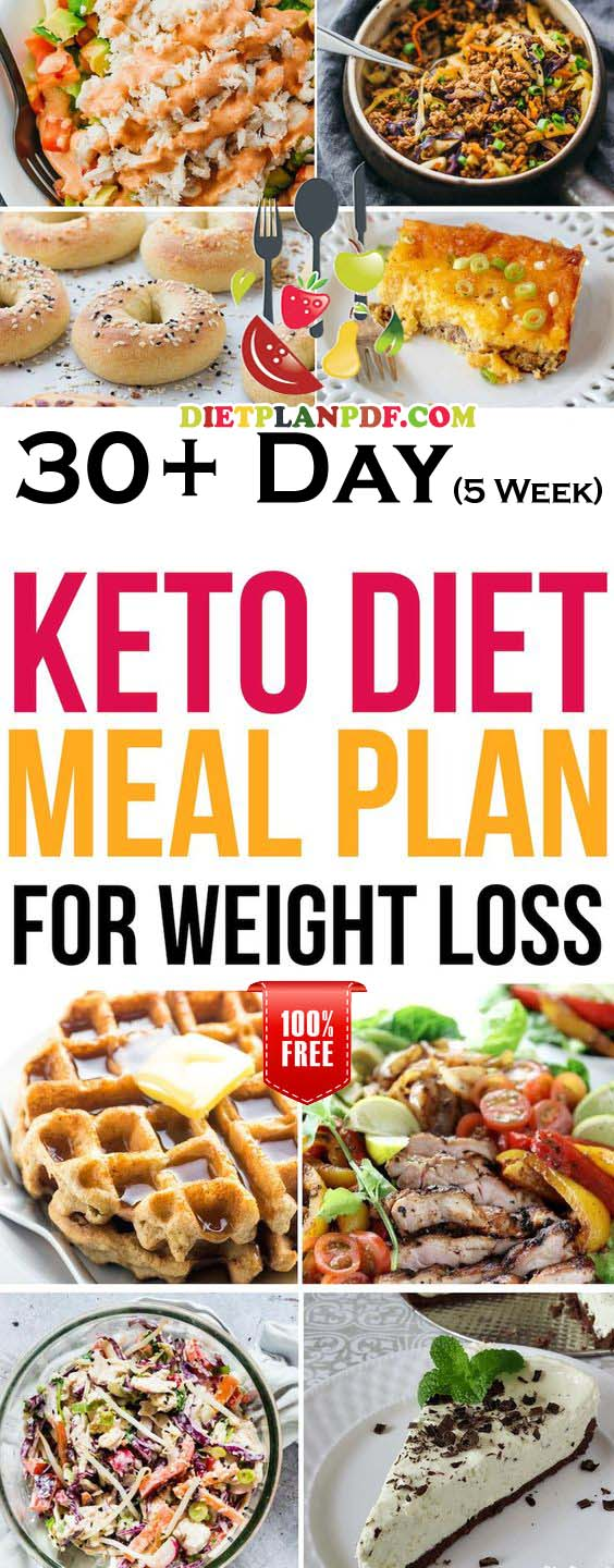 Free 30+ (5 Week) Day Keto Diet Weight Loss Meal Plan PDF